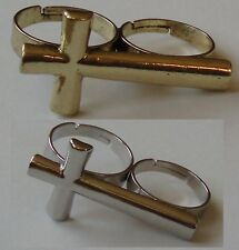 Double ring Cross silver or gold Coloured doppel 2 Finger Ring Two Finger ring