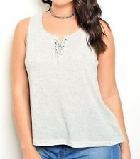 Lace-Up Top Soft Casual Lounge Top Jersey Knit Tunic Fashion Blouse (Plus Size)