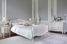Antique White French Louis Style Shabby Chic Mahogany Rattan Cane Bed
