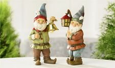 Polystone Standing Gnomes with lantern or bell - for your fairy or gnome garden