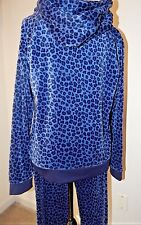 NEW JUICY COUTURE PLEATED HOODIE & JOGGER PANTS INDIGO LEOPARD TRACKSUIT Sz XL