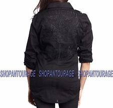 Affliction Eagle One 111WV106 Women`s New Black Long Sleeve Button-Down Shirt