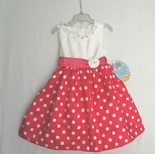 AMERICAN PRINCESS Girls Easter Church Party Dress White Dk Pink Polka Dots NWT