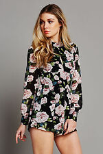 Fashion Union Ladies Black Floral Print High Neck Long Sleeved Playsuit