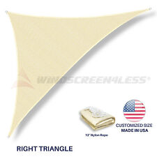 Custom Size Beige Righ Triangle Sun Shade Sail Outdoor Canopy Awning w/6 in Kit