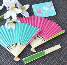 50 Personalized Colored Paper Hand Fan Beach Spring Outdoor Wedding Bridal Favor