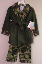 New Boys Bunz Kidz Khaki Green CAMO Flannel Pajamas & Fleece Robe Set Sz 2T