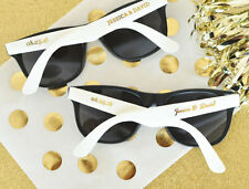 75 Personalized Sunglasses Metallic Gold White Black Wedding Shower Party Favor