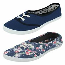 Ladies Spot On Flat Lace Up Casual Canvas Shoes F8792 - D