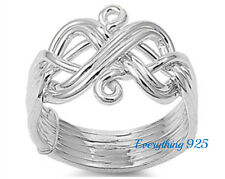 Sterling Silver 925 INTERLOCKING PUZZLE BAND DESIGN RINGS 14MM SIZES 6-12