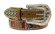 Nocona Western Womens Belt Leather Turquoise Stone Beaded Brown N3522444