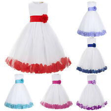 Flower Bow Back Girl Princess Flower Bridesmaid Wedding Pageant Party Prom Dress