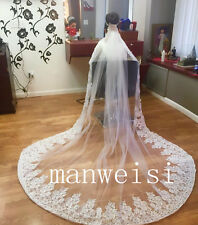 White Custom Made Crystals Wedding Veils Cathedral-Length Bridal Appliques Veil