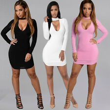 Sexy Women Halter V-Neck Slim Bodycon Cocktail Party Mini Dress