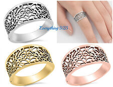 Sterling Silver 925 PRETTY FLOWER DESIGN SILVER BAND RINGS 11MM SIZES 3-13