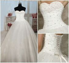 New Stunning White Wedding Dress Prom Gown Stock Size 6 8 10 12 14 16