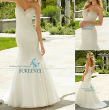 Beaded Mermaid White&Ivory Wedding Dress Evening Bridal Gown Size6 8 10 12 14 16