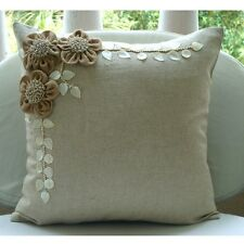 Beige Cotton Linen 30x30 cm Jute Flowers Throw Cushions Cover - Jute Blooms