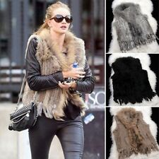Hot Real Hooded Rabbit Fur Vest Waistcoat With Raccoon Collar Womens Gilet OO55
