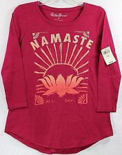 NWT Lucky Brand Namaste All Day Lotus Flower 3/4 Sleeve Pink Women's T-Shirt