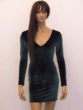 NEW WOMENS EMERALD VELVET LACE UP BACK DETAIL BODYCON MINI PARTY DRESS SIZE 8-16