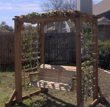 NEW CEDAR GARDEN ARBOR & 5 FT PORCH SWING PERGOLA WITH HEAVY DUTY CHAIN, SPRINGS