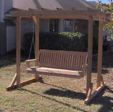 NEW CEDAR GARDEN ARBOR 4 FOOT PORCH SWING STAND WITH HEAVY DUTY HANGING ROPE
