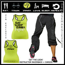 ZUMBA 2 Piece SET! Feel the Music Cargo Capri Pants & INSTRUCTOR RacerBack S M L