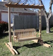 NEW CEDAR GARDEN ARBOR & 5 FOOT PORCH SWING STAND HEAVY DUTY HANGING ROPE