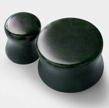 PAIR of Moss Agate Ear Gauge-Onyx Stone Tunnel Plugs-Ear Stretching Expander