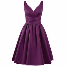 Sexy V Neck Satin Bridesmaid Dresses Short Prom Ball Gowns Cocktail Party Formal