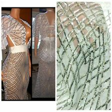 2017 New Sequins Dress Fabric Mesh Diamond Gowns African Bridal Lace 51'' /Yard