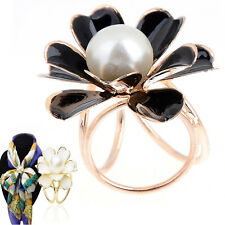 Black/White Flower Faux Pearl Scarf Buckle Ring Holder Clip Fashion Jewelry Pins