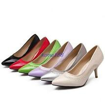 Womens Pointy Toe Mid slim Heel Classic Pumps Slip On wing tip carved shoes size
