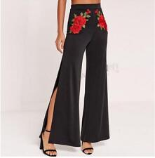 Womens Flower embroidery Wide leg long bell-bottom Trousers Pants High waist new