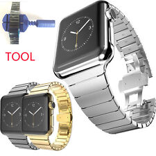 Stainless Steel Butterfly Lock Watch Band Strap For Apple Watch iWatch series 12