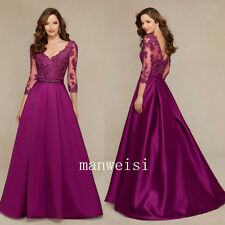 Burgundy A-Line Mother of the Bride Evening Dresses 3/4-Sleeves Appliques Custom