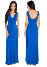 Goddess Long Blue Cleavage Grecian Maxi Evening Dress 10-14 Prom Wedding Party