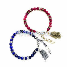 Lucky Brand Antiqued Gold or Silver Tone Ruby Lapis Stone Bead Bracelet