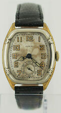 Rare Vintage 1930s Elgin Art Deco 2 Tone 14K Gold Filled Watch Engraved Case