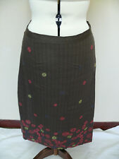 White Stuff Brown Embroidered Circles A-Line Cotton Skirt Size 8R *LAST ONE*