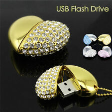 Memory U Disk USB HDD Crystal Heart Shaped Necklace Flash Pen Drive 8/16/32/64GB