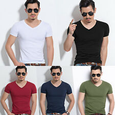 Men V/O Neck Tops Tee Shirts Slim Fit Short Sleeve Solid Color Casual T-Shirt
