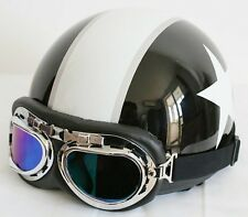 New White Star Half Face Motorcycle Vespa Black Helmet with FREE Goggles & Visor