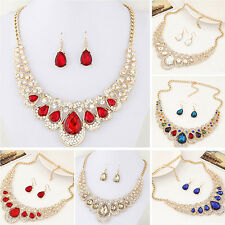 Women Fashion Rhinestone Waterdrop Pendant Necklace Earrings Jewelry Set Nimble