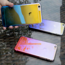 Shiny Electroplated Rainbow Gradient Clear PC Hard Back Case For iPhone 7/7 Plus