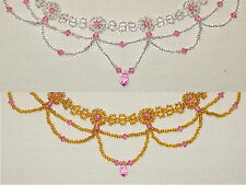 ch3  Rosette Choker featuring pink Swarovski crystals (silver/gold & pink)