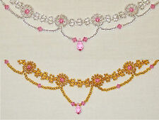 ch2  Rosette Choker featuring pink Swarovski crystals (silver/gold & pink)