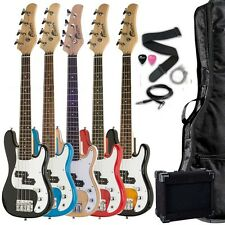"""38"""" Kid's 3/4 Scale 4 String Electric P Bass Package Black Blue Red Sunburst"""