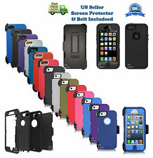 For iPhone 5/5s/SE Defender Case w/Screen Protector Holster [Clip Fits Otterbox]